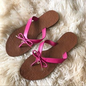 Kate Spade Charles Pink Thong Bow Flip Flops